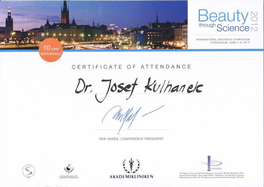 Certifikát Beauty through Science 2012