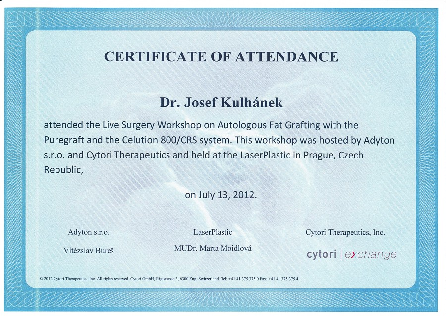 Certifikát Live Surgery Workshop